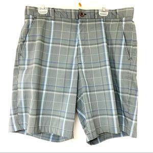 Greg Norman Grey Flat Front Plaid Golf Shorts